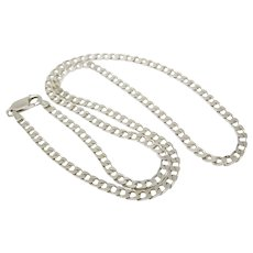"Vintage Italian Sterling Silver 3mm 20"" Figaro Chain Necklace"
