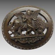 Antique Victorian Vulcanite Cherub with Lion High Relief Cameo Brooch