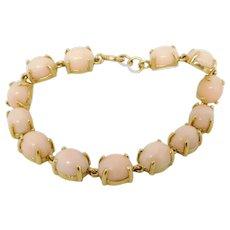 ** ON SALE** Vintage 14K Gold Angel Skin Coral Bracelet