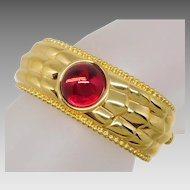 Vintage Swarovski Brand Gold Plated Red Crystal Cabochon Bangle Bracelet