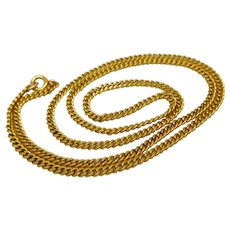 """Antique Victorian Gold Filled 18 1/2"""" Curb Chain Necklace"""