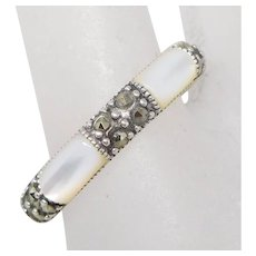 Sterling Silver Mother of Pearl Inlay & Marcasite Band Ring, Size 9