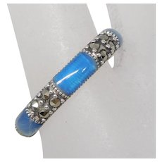 Sterling Silver Blue Agate Inlay & Marcasite Band Ring, Size 9
