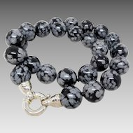 "Designer Whitney Kelly Sterling Silver 14mm Snowflake Obsidian 18"" Necklace"