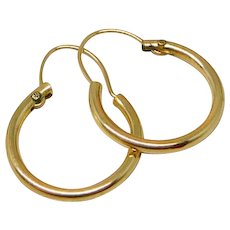Vintage Classic 14K Gold Hoop Earrings