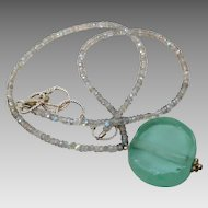 Vintage Sterling Silver Artisan Chalcedony & Sea Glass Necklace