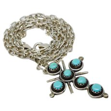 Vintage Southwest Sterling Silver & Sleeping Beauty Turquoise Cross Pendant Necklace
