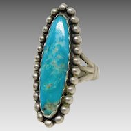 Vintage Southwest Native American Sterling Silver Turquoise Oblong Ring