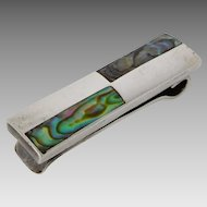 Vintage Taxco Sterling Silver Abalone Inlay Modernist Tie Clip