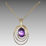 Vintage Krementz Gold Overlay Sterling Silver Amethyst Modernist Necklace