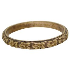 Antique Victorian Gold Filled Floral Band Ring, Size 9 1/4