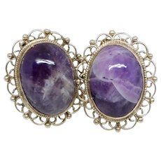 Vintage Old Mexico Sterling Silver & Amethyst Clip On Earrings