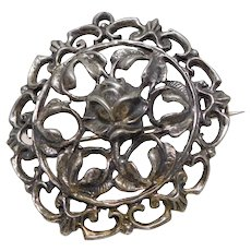 Antique Victorian Sterling Silver Rose Pin Brooch