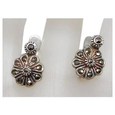 Vintage Sterling Silver & Marcasite Lever Back Earrings