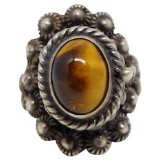 Vintage Taxco Sterling Silver Tigers Eye Poison Ring, Size 6