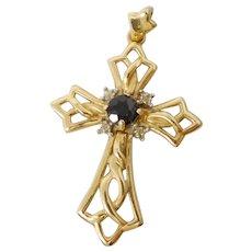 Vintage 14K Gold Diamond & Blue Sapphire Cross Necklace Pendant