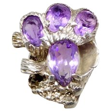 Vintage Old Southwest Taxco Sterling Silver & Amethyst Tree Bark Ring, Size 7 1/4
