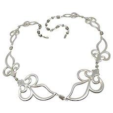 Vintage Sterling Silver Fleur De Lis Artisan Necklace