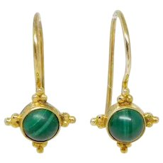 Vintage Gold Overlay Sterling Silver Malachite Byzantine-Style Earrings