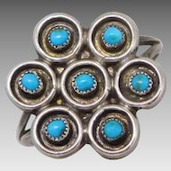 Vintage Hopi Petit Point Sterling Silver Turquoise Ring, size 8 3/4