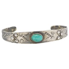 Vintage Southwest Sterling Silver Turquoise Chased Cuff Bracelet