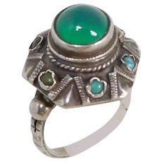 Vintage .800 Silver Turquoise & Green Onyx Poison Ring, sz 6