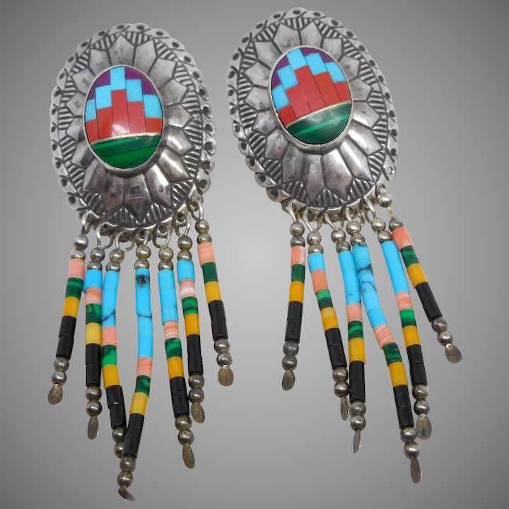 3bb57e22c Vintage Sterling Silver Zuni Turquoise Inlay Concho Earrings : The  Marquette Gallery   Ruby Lane