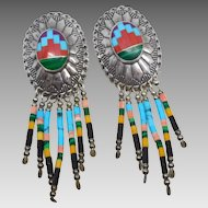 Vintage Sterling Silver Zuni Turquoise Inlay Concho Earrings