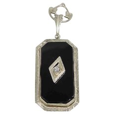 Vintage Art Deco 14K White Gold Diamond & Onyx Necklace Pendant