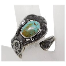 Vintage Southwest Sterling Silver Turquoise Spoon Ring, Size 10 1/2
