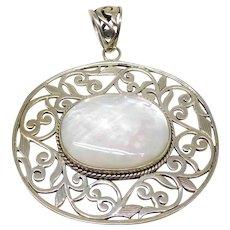 Vintage Large Sterling Silver & Mother Of Pearl Floral Necklace Pendant.