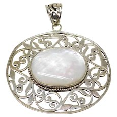 ** LAST CALL**  Vintage Large Sterling Silver & Mother Of Pearl Floral Necklace Pendant.