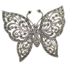 Vintage Large Sterling Silver & Marcasite Butterfly Brooch Pin