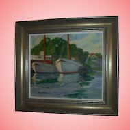 Stunning Seascape by Olle Skogman (Sweden 1878-1968) Original Oil Painting Boats in Harbor Seascape Swedish Listed Artist