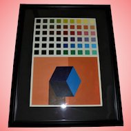 "School of Joseph Albers Original Oil Painting ""Squares"" by Artist Josh Grill"