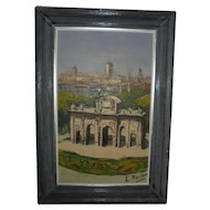 Cordoba Spain Castle Landscape Oil Painting Artist Signed Mid Century Spain
