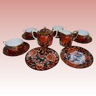 Morimura Bros Nippon Tea Set Gold Orange Red Black Green Wreath Mark 13 Pc Set