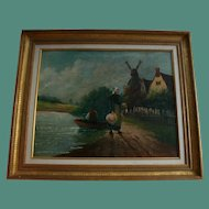 19th Century Antique Dutch Fisherman's Wife Original Oil Painting Holland Windmill Lake Side Landscape Signed
