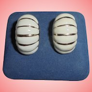 14K Solid Gold Summer Scallopped Converted Clip Earrings Enamel White