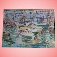 Rockport Maine Original Watercolor Painting Harbour Scene Listed Artist Florence Whitehead