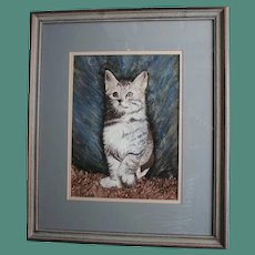 Cat Watercolor Gouache Painting Playful Kitten Staring at Bubbles