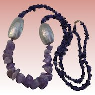 Gorgeous Amethyst Quartz Mother-of-Pearl Sautoir Necklace