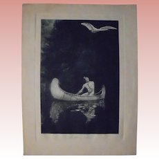 """George De Forest Brush """"The Silence Broken"""" Rare Photogravure Early 20th Cent Native American Subject"""