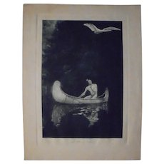 """George De Forest Brush """"The Silence Broken"""" Rare Photogravure Early 20th Cent"""