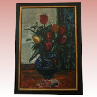 Russian Expressionist Painter Sasha Moldovan Oil Painting ~ Highly Listed Russian / American (1901-1982) Artist Original Still Life Nature Morte