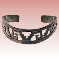 Beautiful 925 Mexico Pierced Design Cuff Bracelet Signed TH-130