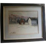 "Robert Frost Farm Derry NH by Al Barker NYC Salmagundi Club Provenance 1973 Original Watercolor""Winter Barns""  New Hampshire"