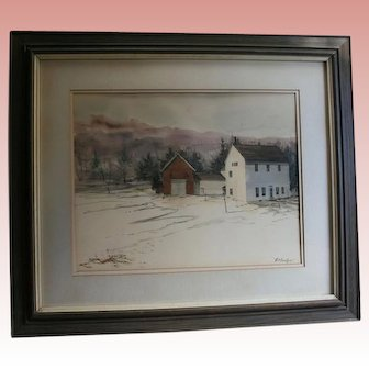 "Robert Frost Farm Derry NH by Al Barker NYC Salmagundi Club Provenance 1973 Original Watercolor""Winter Barns""  New Hampshire"
