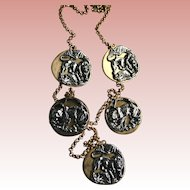Stunning Anne Klein Couture Repousse Lions & Tigers Charm Necklace