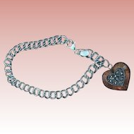 Signed Judith Jack Enamel Sterling Charm Bracelet Double Link Heart Locket